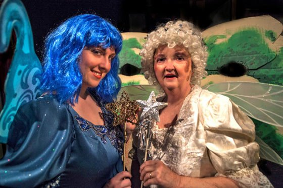"Nellie Rustick as Fortuna and Judy Staber as Salubria in ""SleepFrog"" at the Ghent Playhouse."