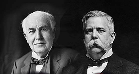 Inventors Thomas Edison (l) and George Westinghouse (r).