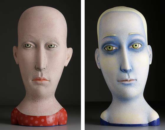Ceramic heads by Sergei Isupov @ Albany International Airport Gallery
