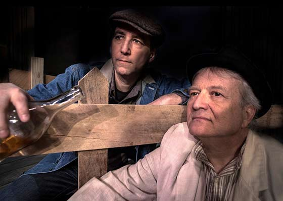 "Kevin Barhydt as Tom Joad and Tom Detwiler as Reverend Jim Casey in the Ghent Playhouse's production of John Steinbeck's ""The Grapes of Wrath"" (photo: Daniel Region)"