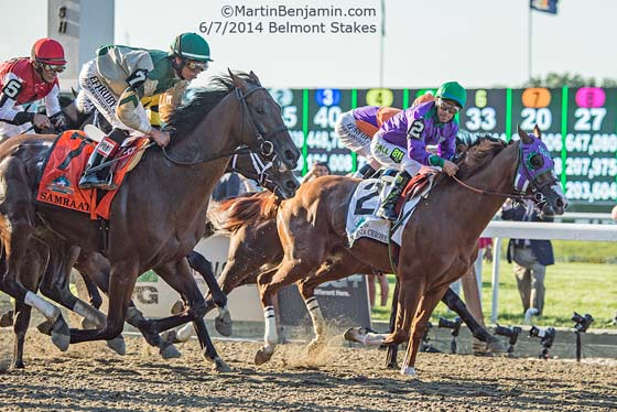 California Chrome in the lead at the start of the race