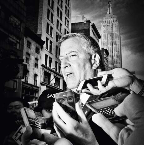 Mark Peterson: Mayor Bill Deblasio Talks To The Press Before The Start Of The Veteran's Day Parade In NYC 11/2013 @ The Center for Photography at Woodstock