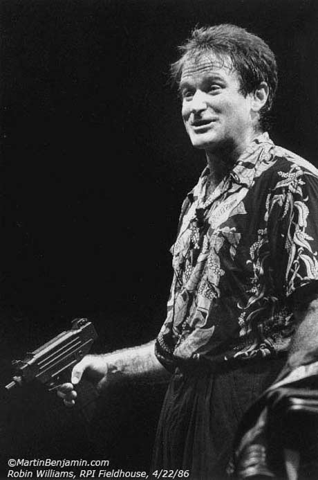 Robin Williams, RPI Fieldhouse, Troy, NY, 1986. Photograph by Martin Benjamin