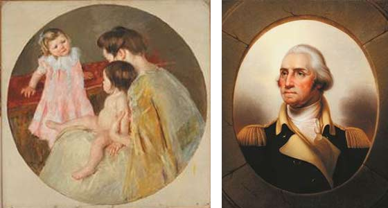 Mary Cassatt: Mother and Two Children and Rembrandt Peale: Portrait of George Washington @ The Hyde Collection