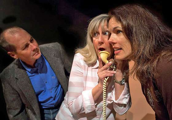 "Mark Fingar as Willy Banbury tries to discern what Cathy Lee-Vosscher as Julia Sterroll and Christina Reeves as his wife, Jane are talking to in the Ghent Playhouse production of ""Fallen Angels"".  (photo: Daniel Region)"
