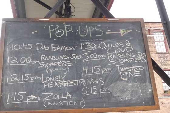 The Pop-Up schedule (photo by Kirsten Ferguson)