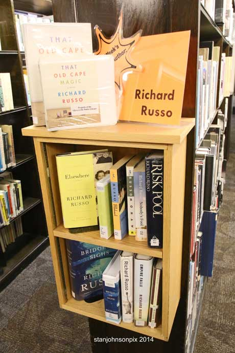The Richard Russo book display in Gloversville Library