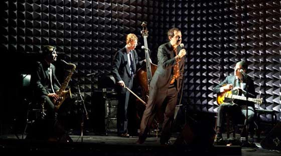 "(L to R) Vito Dieterle, Ian M. Riggs, Ethan Lipton, and Eben Levy in ""No Place To Go."" (photo:  Heather Phelps-Lipton)"
