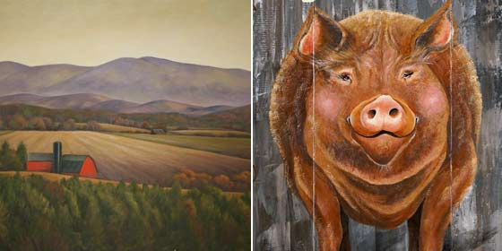 Works by (left) Ann Fitzgibbons and Gigi Begin @  Landscapes for Landsake 13th Annual Art Exhibition