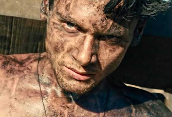 A beaten but unbowed Jack O'Connell as Zamperini.