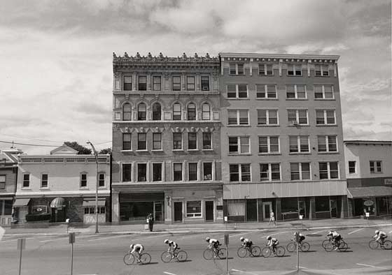 A bicycle race in front of 100-106 Jay Street