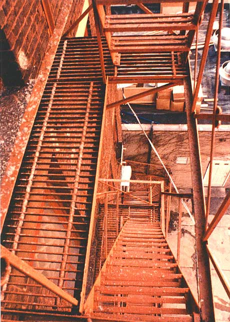 The fire escape, looking down from the 4th floor
