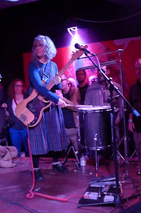 Brenda Sauter playing bass and drum