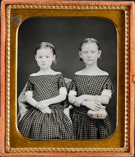 Sisters in Polka-dot Dresses, One with Beauty Mark and Purse @ The Frances Lehman Loeb Art Center