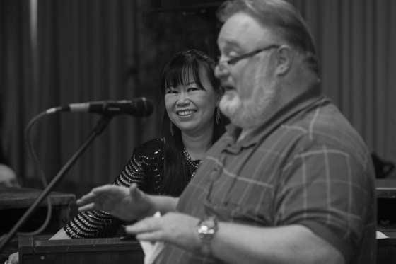 Akiko and WCDB DJ Bill McCann (photo by Albert Brooks)