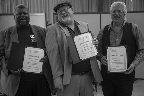The Honorees: Tom Pierce, J Hunter, Greg Haymes (photo by Albert Brooks)