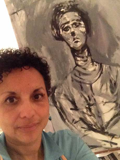 Julia Santos Solomon: Selfie  with her drawing at the Met Museum @ Martinez Gallery