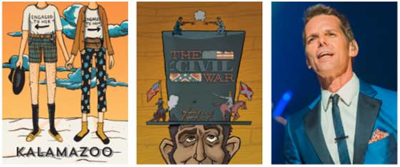 Three of the planned shows: (l to r) Kalamazoo, The UnCivil Wars, J. Robert Spencer.