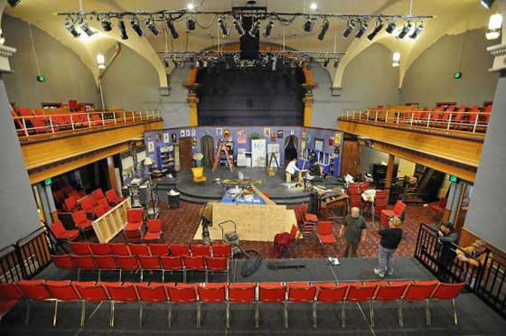 "Volunteers work on the set of the play ""The Drowsy Chaperone"" at SLOC. (photo courtesy of Lori Van Buren / Times Union)"