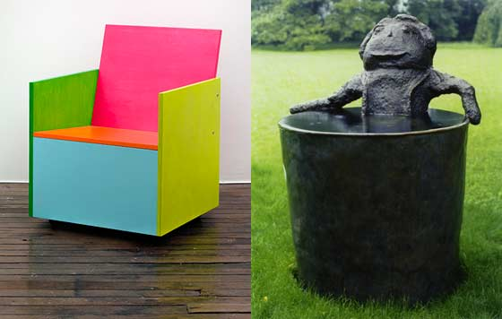 (left) Mary Heilmann: Rietveld-Remix #6 and Donald Baechler: Bather @ Art Omi