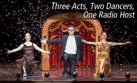 Anna Bass, Ira Glass and Monica Bill Barnes in Three Acts, Two Dancers, One Radio Host (photo: David Bazemore)