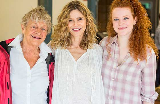 (L to R): Estelle Parsons (Mrs. Bennet), Kyra Sedgwick (Faye Garrit) and Mary Wiseman (Julia Conroy) Photo: Paul Fox.