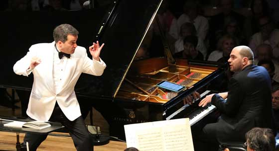 Jacques Lacombe conducts Gershwin Piano Concerto in F with Kirill Gerstein, soloist. (photo: Hilary Scott)