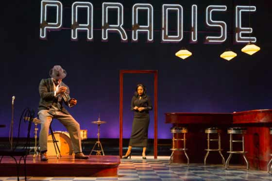 (l) Blair Underwood and (r) De'Adre Aziza in Paradise Blue. Photograph T .Charles Erickson