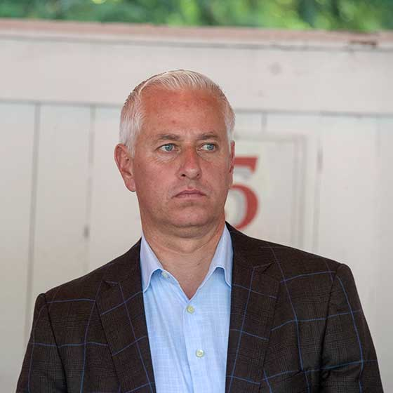 Trainer Todd Pletcher, with 22 wins through 8/27, in the paddock.