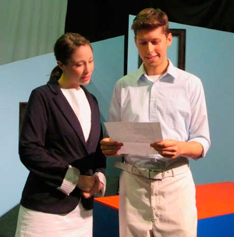"Caitlin Mesiano and Michael Luongo in ""john & jen"" at the Theater Barn in New Lebanon, NY from July 30 through August 9."