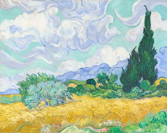 Vincent Van Gogh - A Wheatfield with Cypresses, 1889 oil on canvas The National Gallery, London