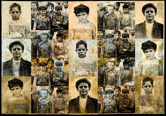 Patricia Kennedy-Zafred - Childhood Lost: The Doffer Boys, mixed-media cotton quilt