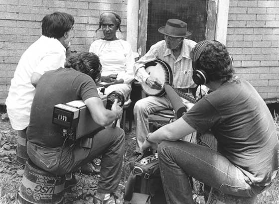 "Alan Lomax (far left) recording with musicians for ""American Patchwork"""
