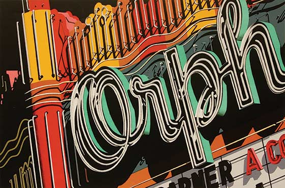 Robert Cottingham - Orph, 1972 color lithograph on wove paper