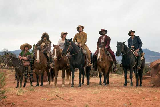 "They've hidden the jokes somewhere in Adam Sandler's ""Ridiculous Six,"" and viewers are still trying to find them. (l to r) Rob Schneider as Ramon, Jorge Garcia as Herm, Taylor Lautner as Lil' Pete, Sandler as Tommy, Terry Crews as Chico and Luke Wilson as Danny."