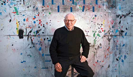 Ellsworth Kelly in his studio in 2012 (photo stolen from the New York Times)