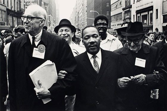 Benedict J. Fernandez: Dr. Benjamin Spock, Dr. Martin Luther King and Monsignor Rice of Pittsburgh  march in the Solidarity Day Parade at the United National Building, April 15, 1967 @ The Hyde Collection