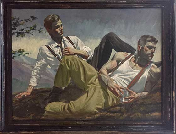 Mark Beard: Untitled VI (Two Men Reclining) @ Carrie Haddad Gallery