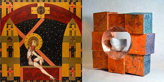 Works by Robert Gullie (left) and Gyula Varosy @ Laffer Gallery