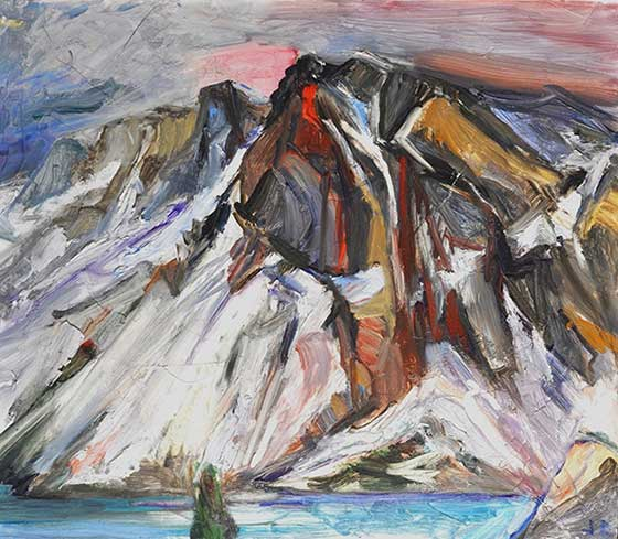 Jane Culp: Tioga Pass Mountains with melting snow and little lake below @ John Davis Gallery