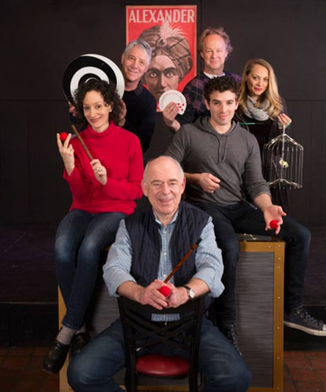 Presto Change-O stars (clockwise from bottom) Lenny Wolpe, Barbara Walsh, Michael Rupert, Bob Walton, Jenni Barber and Jarrod Spector.