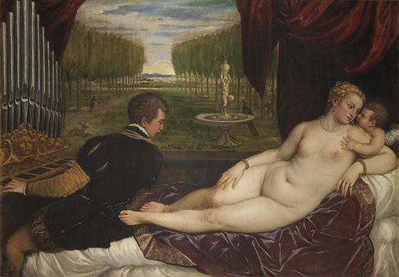 Venus with an Organist and Cupid by Titan is on view at the Clark this summer.