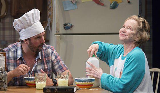 """Chris Thorn (Buddy) and Debra Jo Rupp (Kimberly) in a scene from """"Kimberly Akimbo"""". Photo by Scott Barrow."""