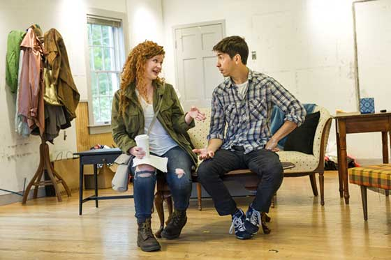 Mary Wiseman (L) and Justin Long (R) in rehearsal together for the world premiere of Romance Novels for Dummies by Boo Killebrew (photo: Daniel Rader)