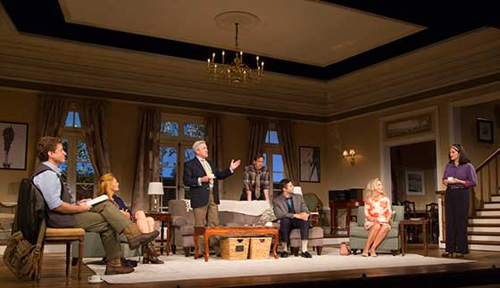 Pictured (L to R): Jason Danieley, Kerry Bishé, Richard Poe, Stephen Kunken, Roe Hartrampf, Deborah Rush and Diane Davis. (photo:  T. Charles Erickson)