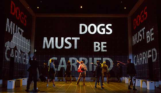 Adam Langdon as Christopher Boone and the touring production of The Curious Incident of the Dog in the Night