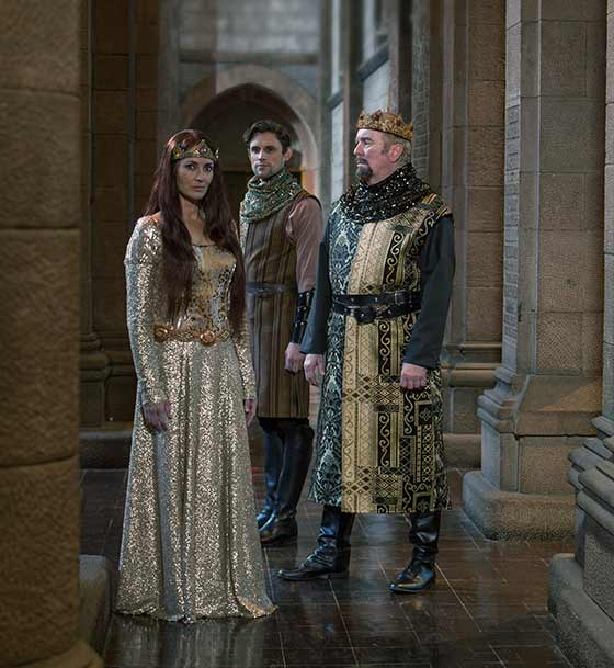 Leenya Rideout as Guineviere, Oliver Thornton as Lancelot, and Kevin McGuire as King Arthur (photo: Douglas C. Liebig)