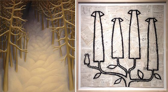 (left) Laura Von Rosk: Untitled (light on snow trail) and Louise Laplante: Plant Girls First Lesson in Botany @ Carrie Haddad Gallery