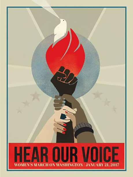HEAR OUR VOICE by Liza Donovan was one of five graphics chosen from The Amplifier Foundation's public call for art for the Women's March on Washington.