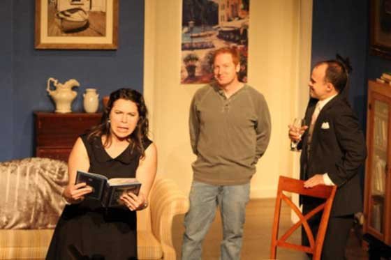 "The relationships between Ana (Megan Demarest), her husband Rob (Wade Simpson) and their old college friend Will (Oliver Wadsworth) form the heart of ""The Book Club Play."""